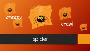 Halloween Words: Five Creepy Spiders Crawl