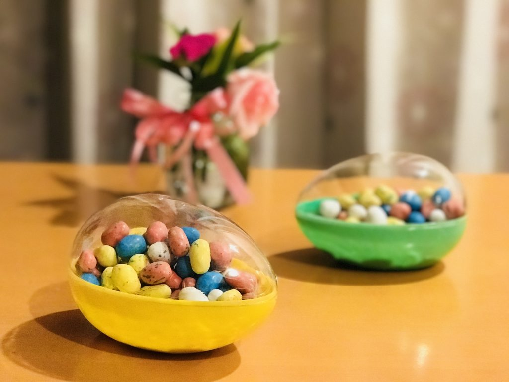 Candy eggs in plastic eggshells for Egg Counting