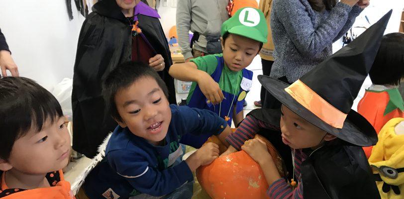 Pumpkin carving with kids. Making Jack-o-lanterns.